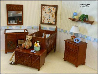 Lee's Line Ashley Pink Four Piece Spice Nursery Set 1:12 scale