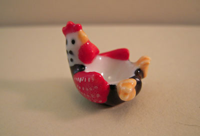 Miniature Porcelain Rooster Bowl 1:12 scale
