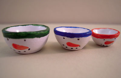 Three Piece Snowman Ceramic Mixing Bowl Set 1:12 scale
