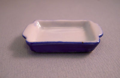 Bright deLights Blue Ceramic Baking Pan 1:12 scale