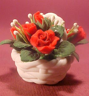 Hand and Heart Basket Of Roses 1:12 scale