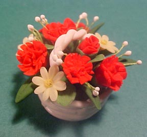 Hand and Heart Basket Of Red Carnations 1:12 scale