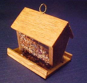 DOLLHOUSE Miniatures 1:12 Scale Miniature Wooden Bird Feeder Filled with Seed