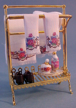 Reutter Porcelain Brass Towel Stand Set 1:12 scale