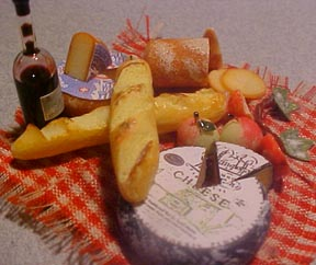 Bread with Cheese and Wine 1:12 scale
