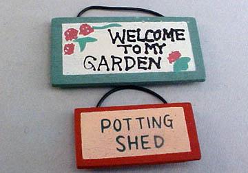 Miniature Wooden Garden Signs 1:12 scale
