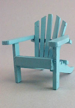 Miniature Blue Wooden Adirondack Chair 1:12 scale
