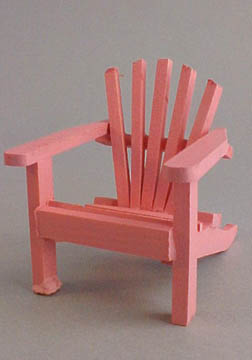 Miniature Pink Wooden Adirondack Chair 1:12 scale
