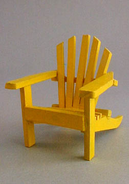 Miniature Yellow Wooden Adirondack Chair 1:12 scale