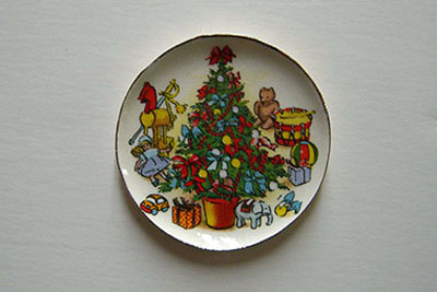 By Barb Christmas Tree and Toys Decorative Christmas Plate 1:12 scale