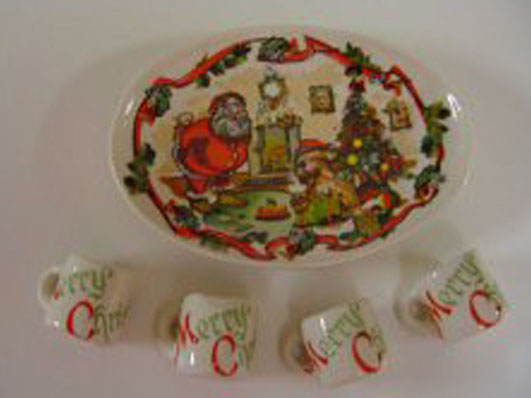 By Barb Christmas Platter and Mug Set 1:12 scale