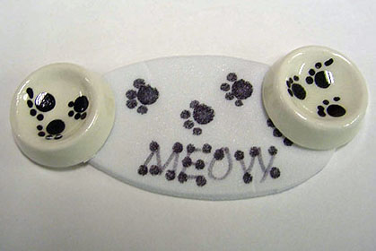 Handcrafted Meow Cat Bowls and Mat 1:12 scale