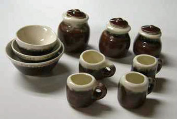 Miniature By Barb Brown and White Canister and Bowl Set 1:12 scale