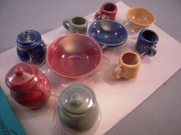 Miniature By Barb Dark Fiesta Canister and Bowl Set 1:12 scale