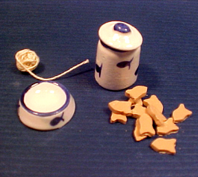 Cat Bowl, Canister and Toy Set 1:12 scale