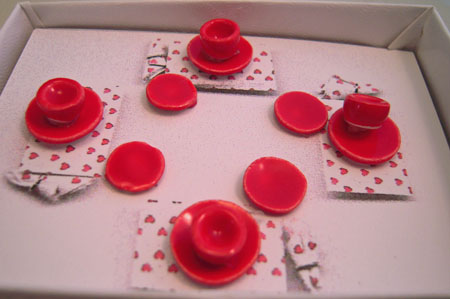 By Barb Red Valentine's Dinner Set 1:24 scale