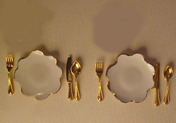 White Place Setting For Two 1:12 scale