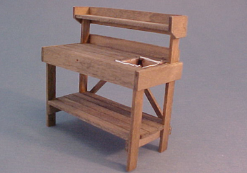 CJ's Miniatures Handcrafted Weathered Grey Potting Bench 1:24 scale