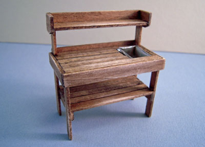 CJ's Miniatures Handcrafted Antique Walnut Potting Bench 1:24 scale