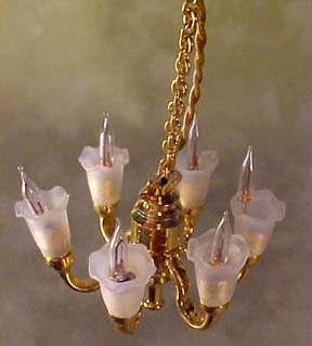 Cir-Kit Six Arm Tulip Shade Chandelier 1:24 scale