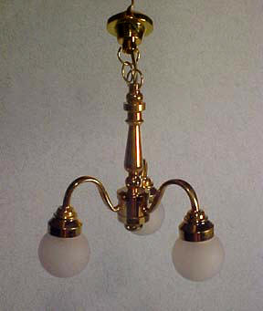 Three Arm Frosted Shade Chandelier 1:12 scale