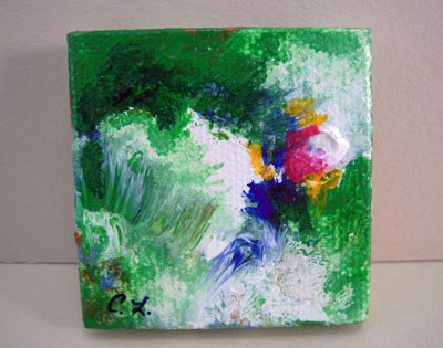 Carol Landry Fine Art Original Green Abstract Painting 1:12 scale