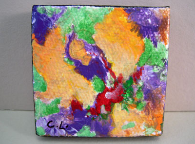Carol Landry Fine Art Original Green and Coral Abstract Painting 1:12 scale