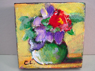 Carol Landry Fine Art Original Red Flower In A Vase Still Life Painting 1:12 scale