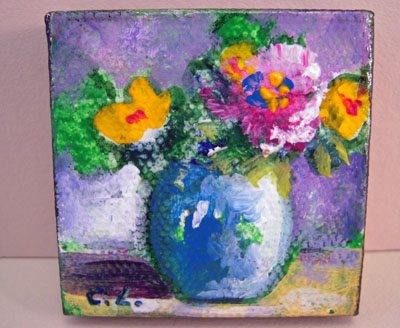 Carol Landry Fine Art Original Pink and Yellow Flowers In A Vase Still Life Painting 1:12 scale