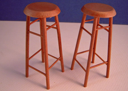 "Pair Of Walnut 3"" Bar Stools 1:12 scale"