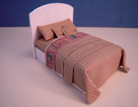Cindy's Minis Beige Striped Dressed Child's Bed Dollhouse Miniature 1:24 scale
