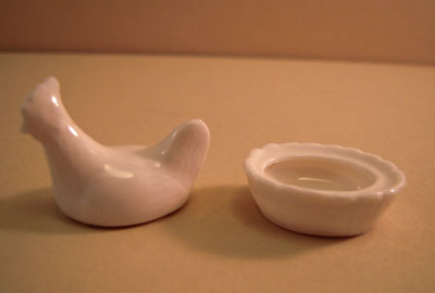 Miniature White Porcelain Chicken Dish with Lid 1:12 scale
