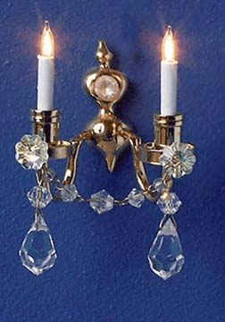 Crystal Renaissance Dual Candle Wall Sconce 1:12 scale