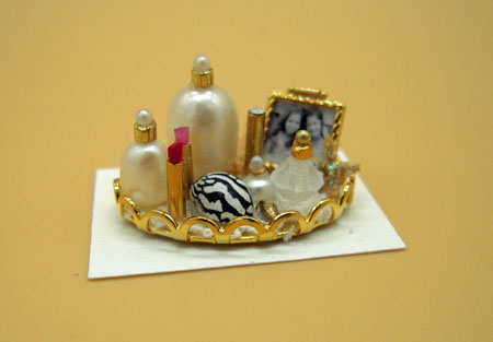 Cheryl Warder Oval Vanity Tray with Photo and Lipstick 1:24 scale