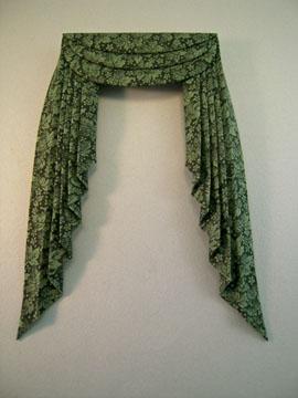 Mc Bay Miniatures Deep Green Print Fabric Drapes 1:12 scale