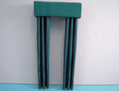 Miniature Forest Green Fabric Drapes 1:24 scale