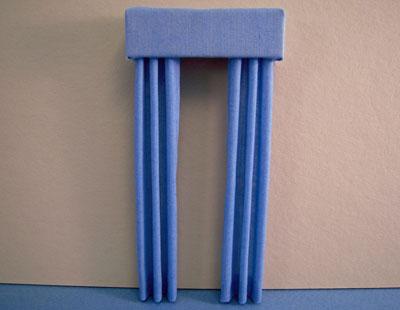 Miniature China Blue Fabric Drapes 1:24 scale