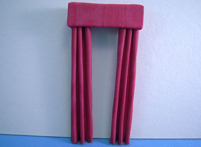 Miniature Deep Red Fabric Drapes 1:24 scale
