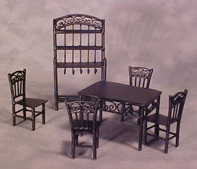 Townsquare Black Six Piece Dining Set 1:24 scale