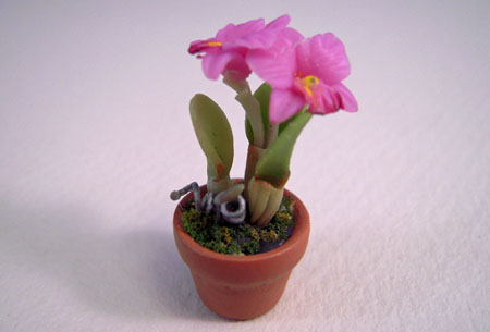 Potted Small Pink Orchid Plant 1:24