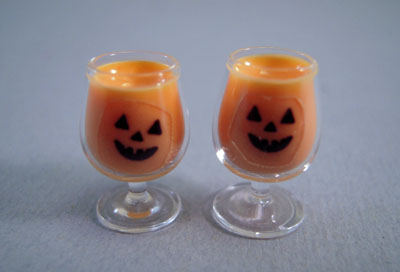 Bright deLights Pair Of Jack O Lantern Pumpkin Punch 1:12 scale