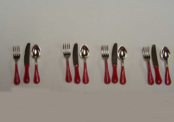 Red Flatware Set 1:12 scale