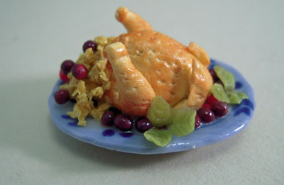 Roasted Turkey on a Platter With Fruit 1:24 scale