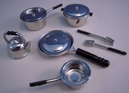 Ten Piece Stainless Look Kitchenware Set 1:12 scale