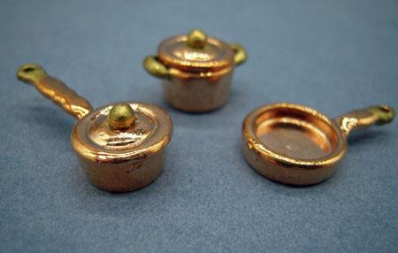 Copper Pots and Pans Set 1:24 scale