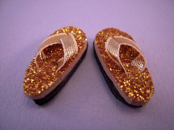 By Barb Sparkling Gold Flip Flops 1:12 scale