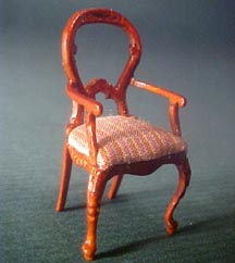 Bespaq Miniature Walnut Balloon Back Arm Chair 1:24 scale