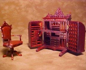 Bespaq Mahogany Cabinet Desk Set 1:24 scale