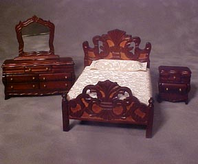 Glenowen Miniature Mahogany 4-Piece Bedroom Set 1:24 scale