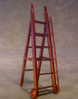 Bespaq Walnut Gallery Library Ladder 1:24 scale